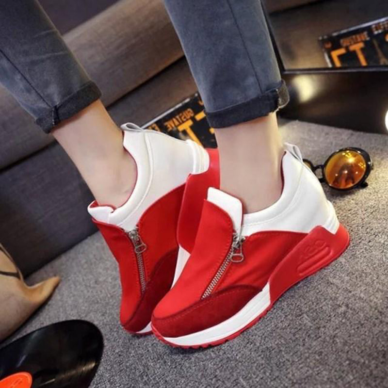 OBBVY-Women's Loafers Large Size Casual Shoes Wedge Sneakers Side Zipper Shoes