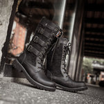 OBBVY-Punk Boots Motorcycle Shoes Retro Style Martin Boots