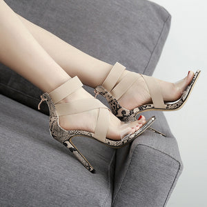 OBBVY-Fish Mouth Rubber Band Transparent Thin High Heel Sandals