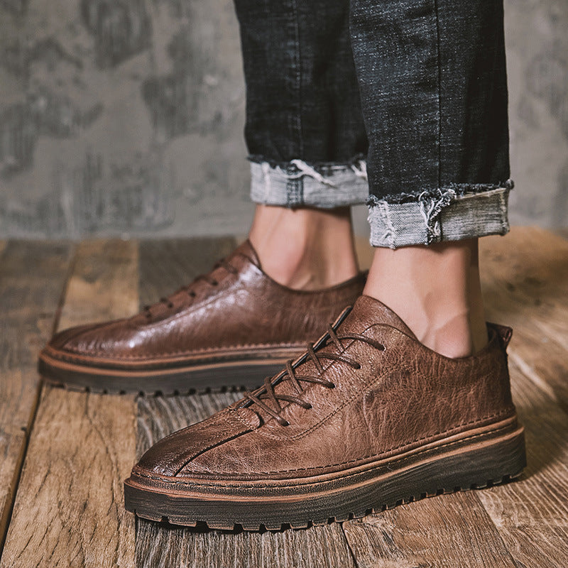 OBBVY-Men's Casual Leather Shoes Retro Style Unique Design