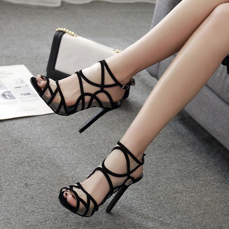 OBBVY-White Netted Black Openwork High Heel Sandals