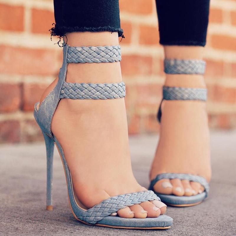 OBBVY-Lace-up High Heels