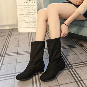 OBBVY-Suede Round Head Low Heel Ankle Boots