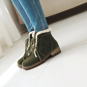 OBBVY-College Style Lace-up Snow Boots