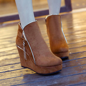 OBBVY-Fringed Wedge Boots