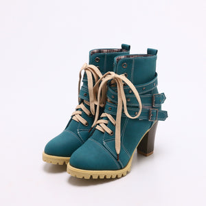 OBBVY-Round Head Strap Buckle Rivet High Heel Booties