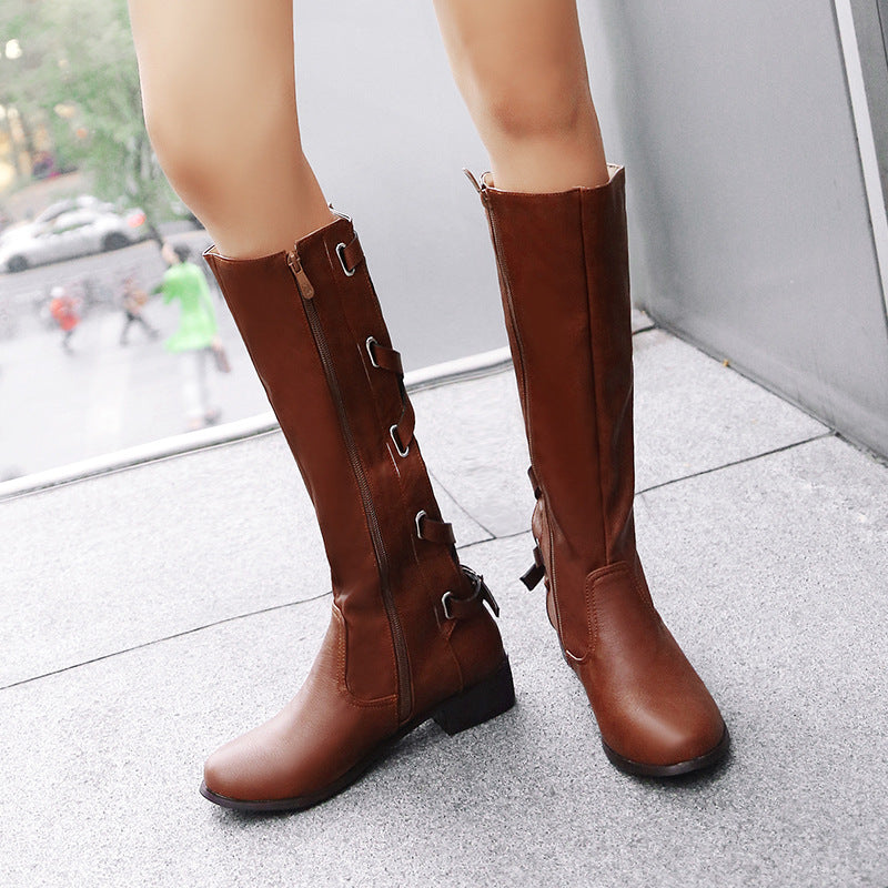 OBBVY-Flat Bottom Round Side Zipper Rear Cross Straps Long Boots