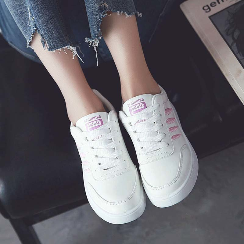 OBBVY-Flat Bottom Lace-Up Embroidered Low-Top Sneakers
