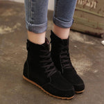 OBBVY-Flat-bottom Fashion Sweet Lace Martin Boots