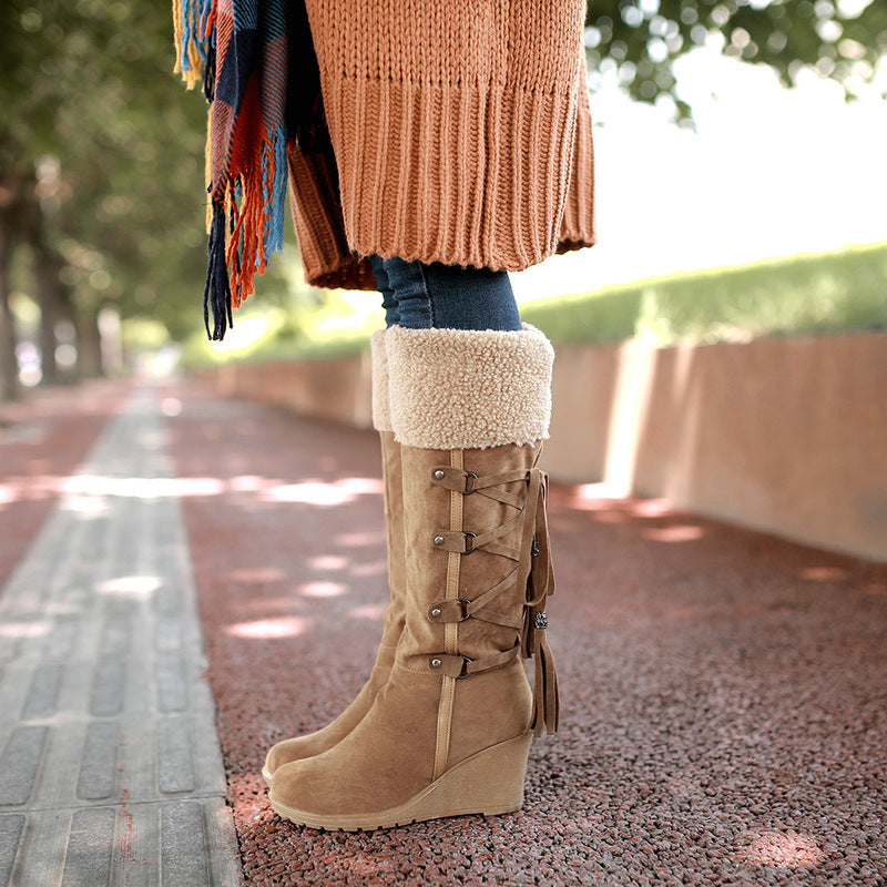 OBBVY-Matte Lace-up Tassel Snow Boots