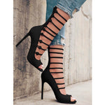 OBBVY-Suede Fish Mouth High Heels