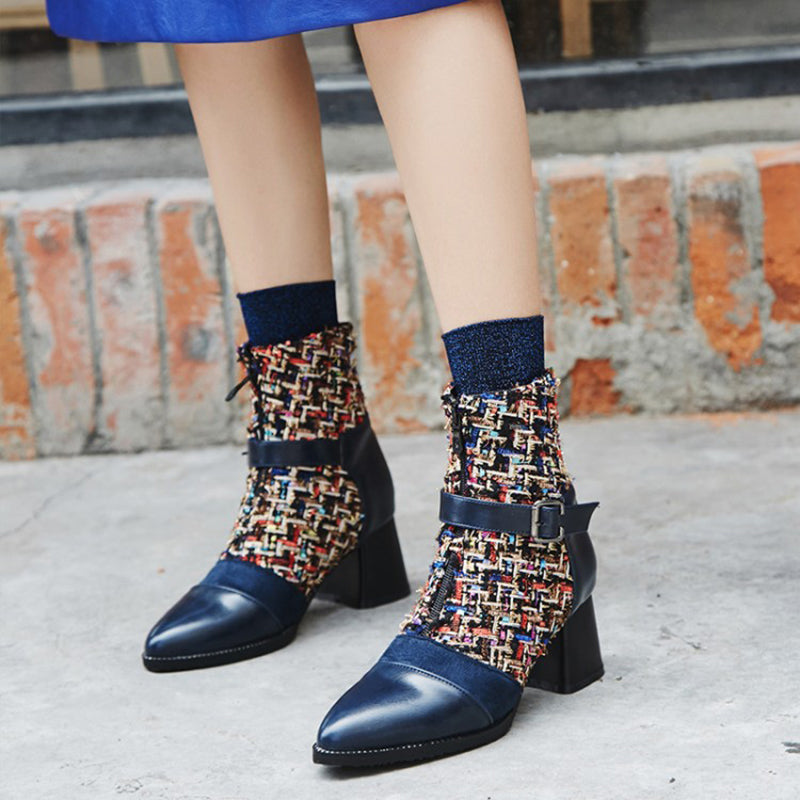 OBBVY-Pointed Knit Booties
