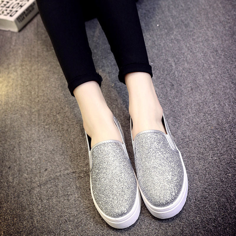 OBBVY-Thick-Soled Sequins Low-Lop Shoes