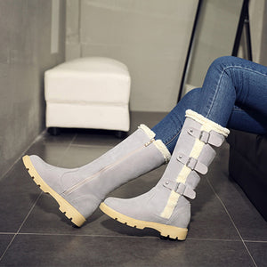 OBBVY-Belt Buckle Flat Snow Boots