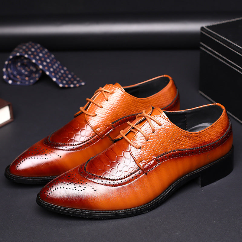 OBBVY-Bullock Carved Leather Shoes Dress Shoes Size EU37-48