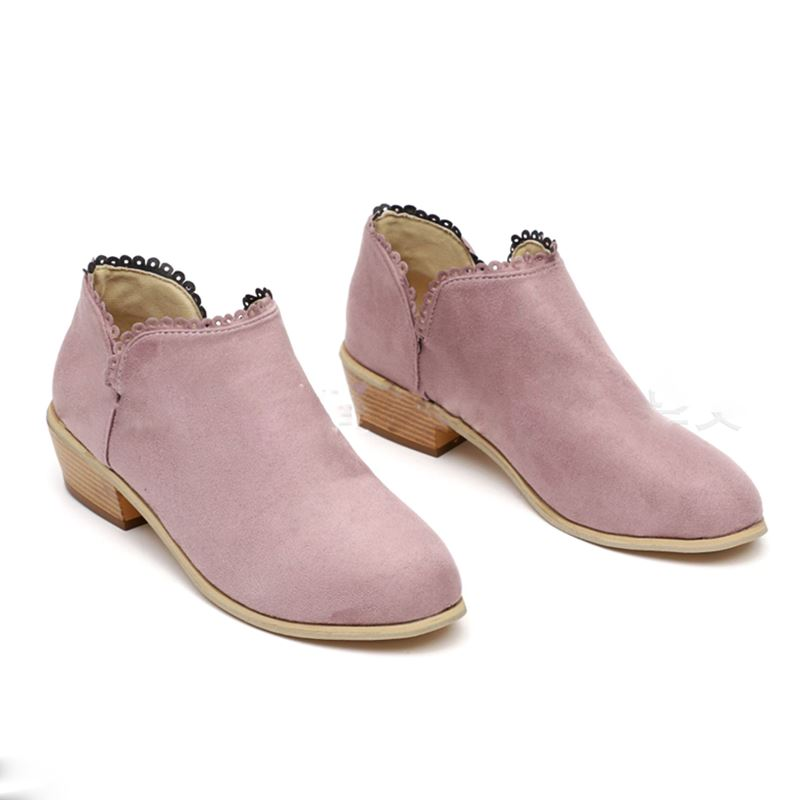 OBBVY-Ladies Lace Low Heel Booties