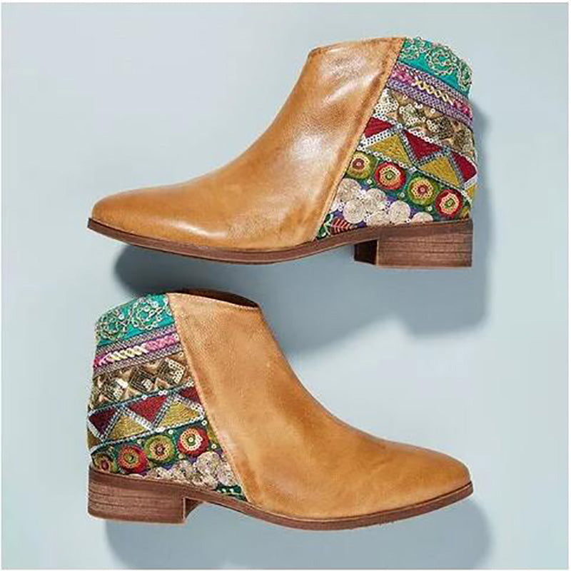 OBBVY-Color Matching Ethnic Style Low Square Heel Short Boots