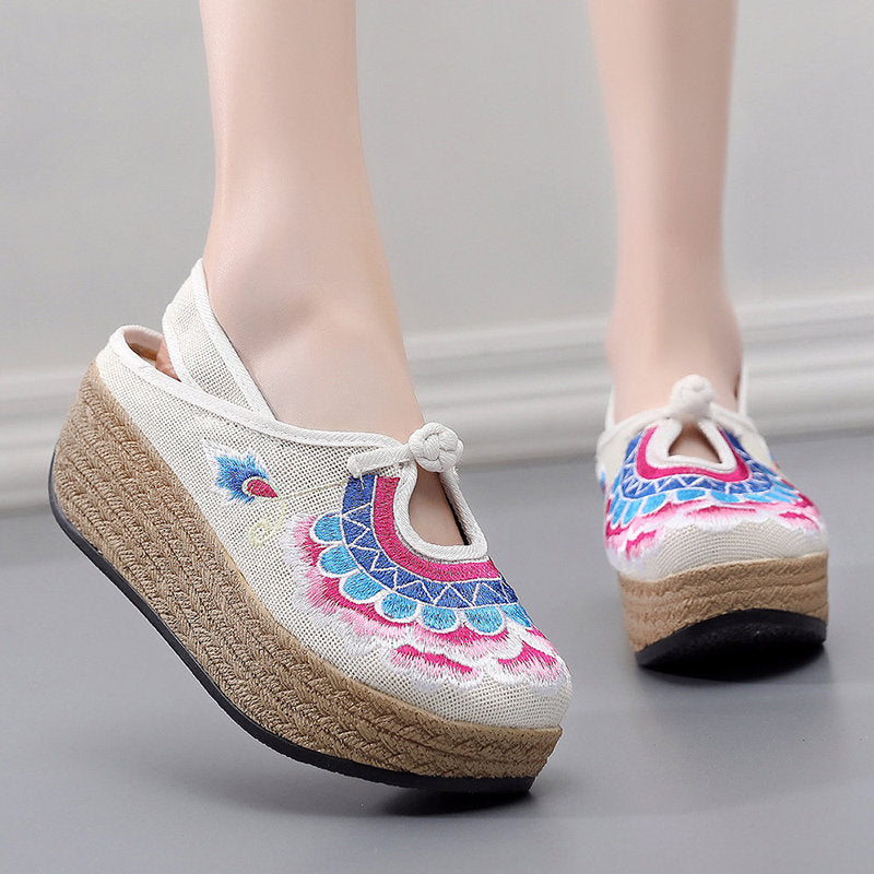 OBBVY-Peony Embroidery National Wind Shoes