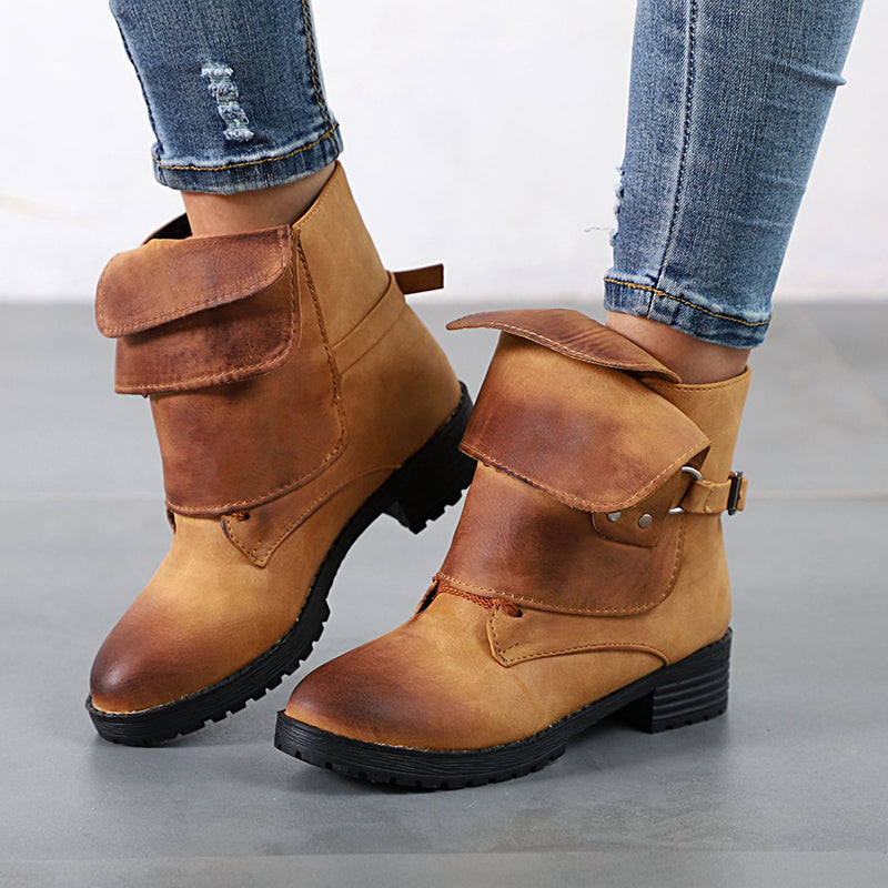 OBBVY-Retro Brushed Round Boots