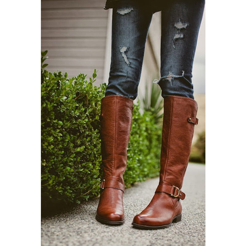 OBBVY-Round Head Solid Color Side Double Buckle Boots