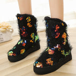 OBBVY-Sequined thick warm anti-skiing Boots