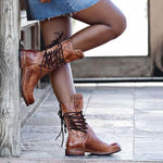 OBBVY-Lace-Up Rivet Boots