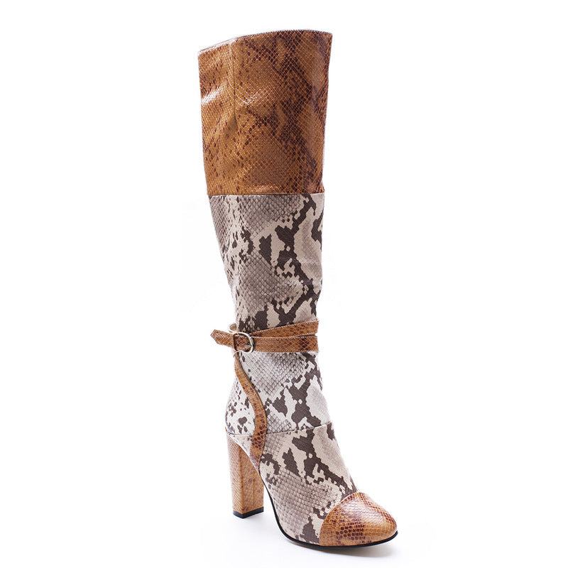 OBBVY-Colorblock Snakeskin Pattern Boots