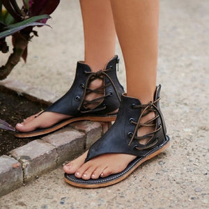 OBBVY-Large Size Flat Bottom Zip Sandals