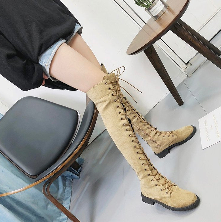 OBBVY-Lace-Up Suede Flat-Bottomed Knee Boots