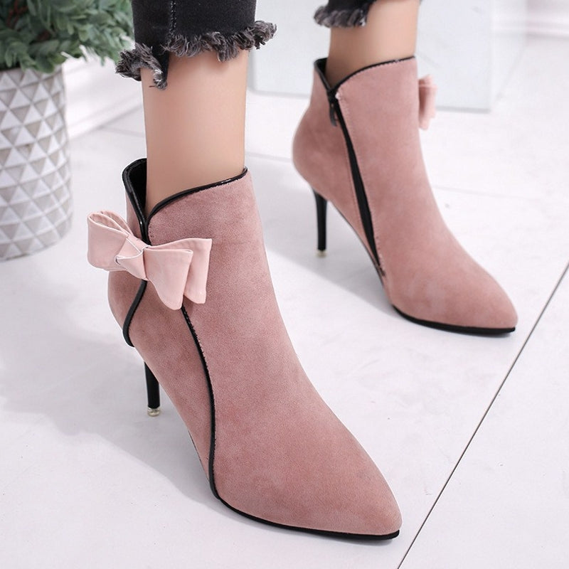 OBBVY-Suede Bow High Heels