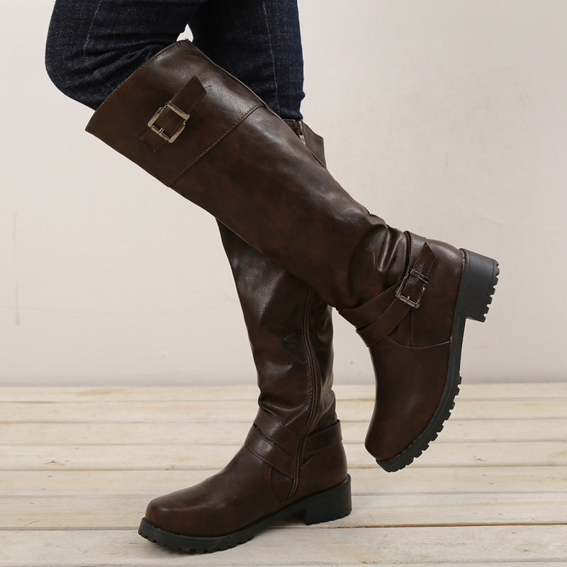 OBBVY-Belt Buckle Wrinkled Boots