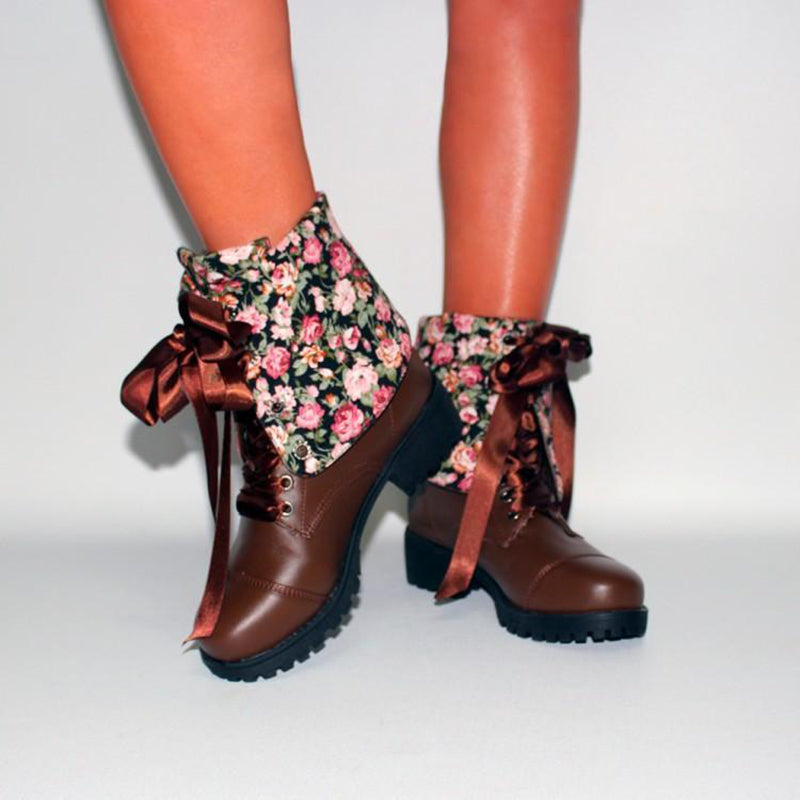 OBBVY-British Style Low Square Heel Laced Booties