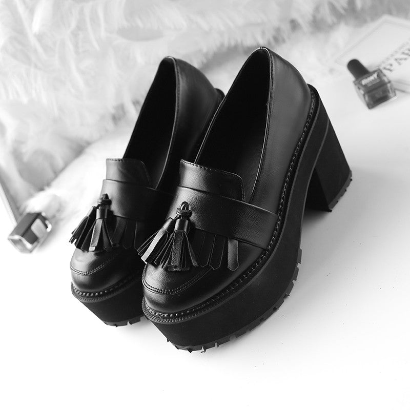 OBBVY-Thick-bottomed Vintage Tassels Loafers Size US5-8.5/EU35-39