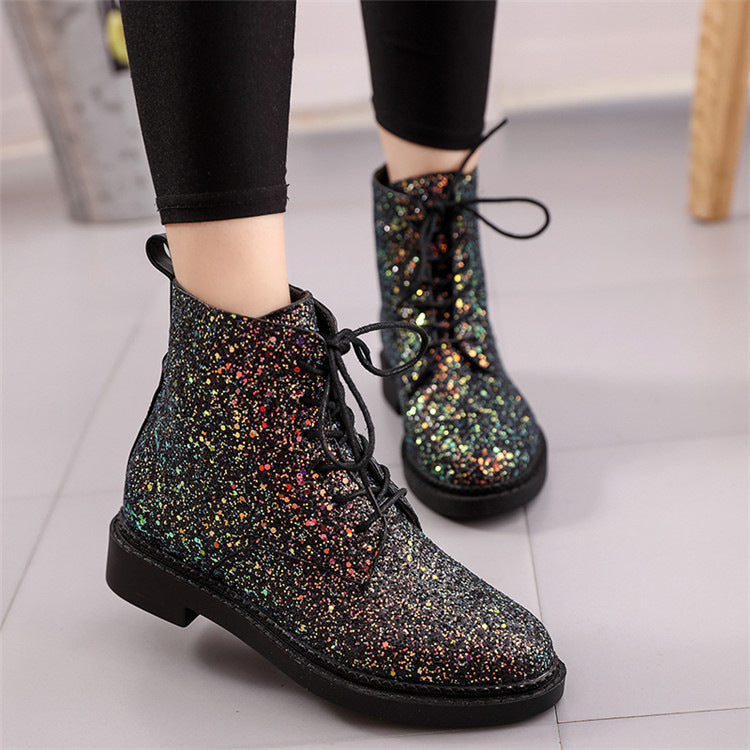 OBBVY-Fashion Sequined Booties