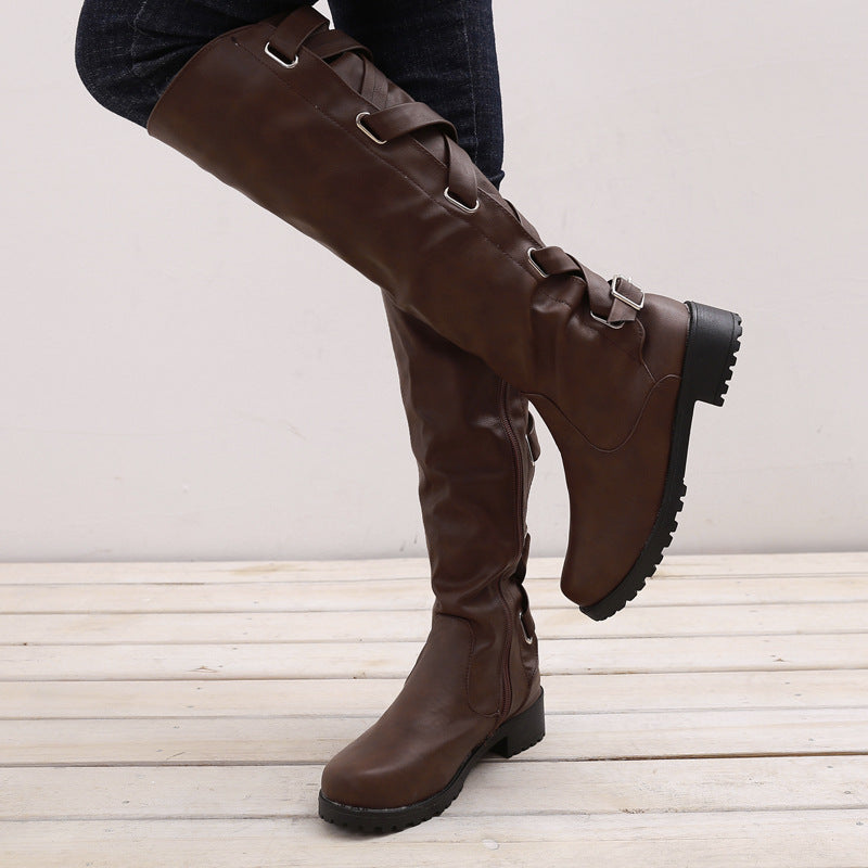 OBBVY-Lace Belt Buckle Boots