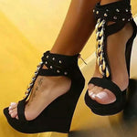 OBBVY-Metal Chain Studded Wedge