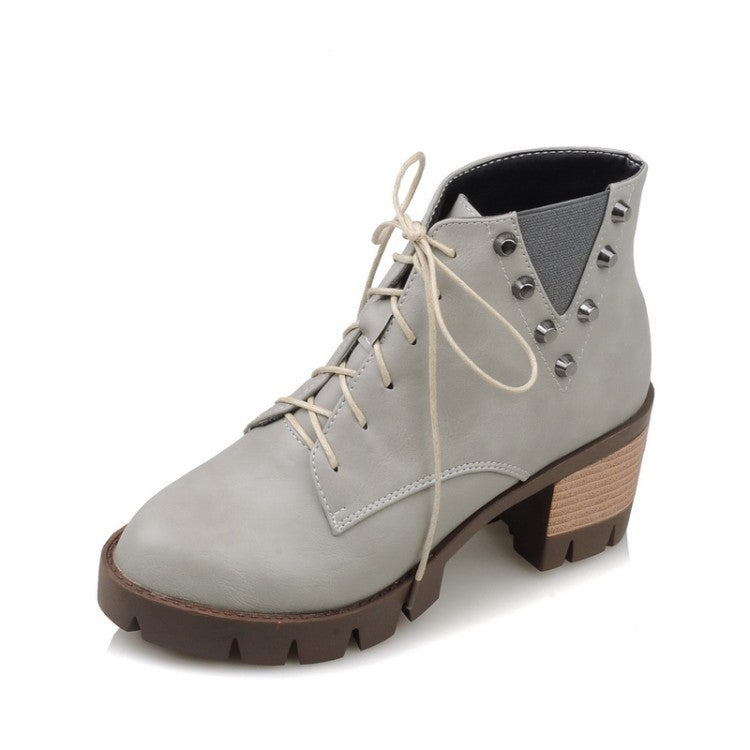 OBBVY-Women's British Short Rivet Booties