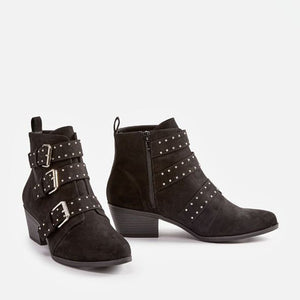 OBBVY-Fashion Buckle Rivet Booties