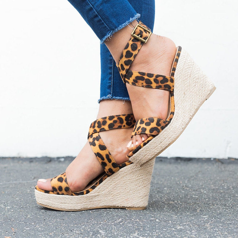 OBBVY-Leopard Wedge Sandals