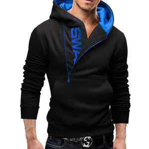 OBBVY-Printed Sweater Side Zipper Hoodies