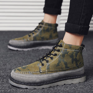 OBBVY-High-top Shoes Camouflage Martin Boots