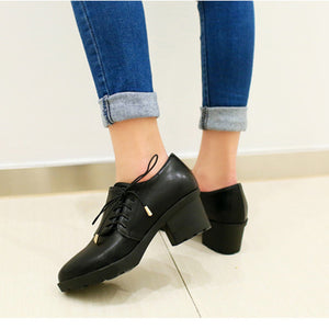 OBBVY-Side Strap Thick Heel Shoes