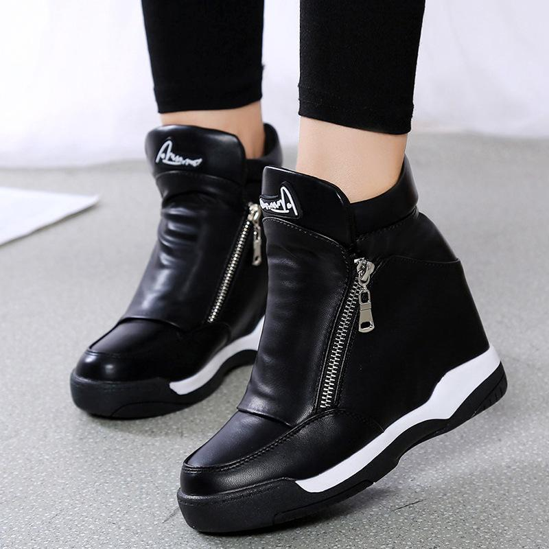 OBBVY-Women's Wedges Double Zipper Heightening Thicken Shoes