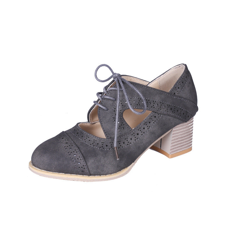 OBBVY-Openwork Carved Low/Mid Heeled Pumps Shoes