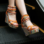 OBBVY-Bohemian Handmade Beaded Wedge Sandals