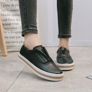 OBBVY-Low-Cut Hemp Rope Solid Color Platform Canvas Shoes
