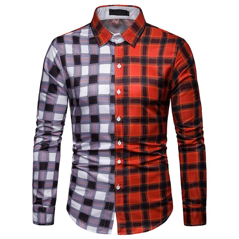 Color Block Plaid Shirt