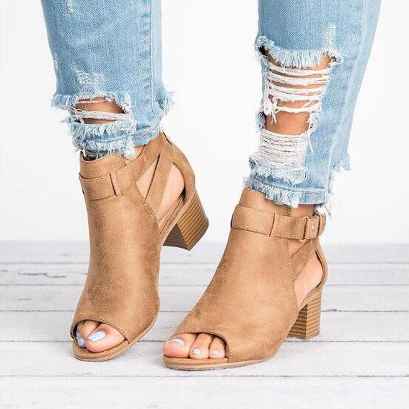 OBBVY-Thick Heel Buckle Fish Mouth Sandals