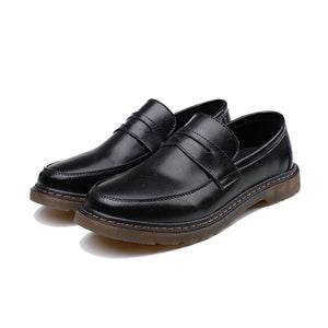 OBBVY-Round Toecap Loafers Retro Leather Shoes Size EU35-47