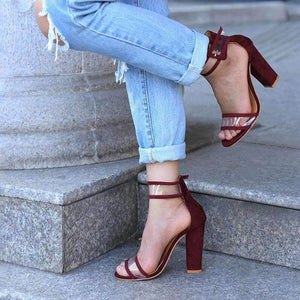 OBBVY-Suede Cutout Buckle High Heel Sandals Size US5-10.5/EU35-43